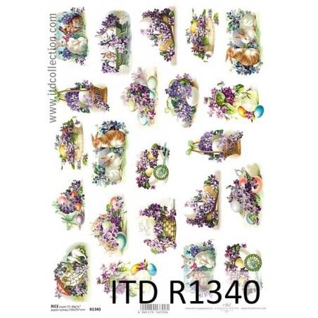 Papier do decoupage A4 ITD R1340, Zajączki i fioletowe kwiaty