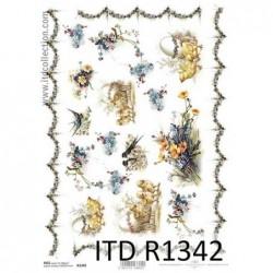 Papier ryżowy do decoupage, jaskółki, kurczaczki, Wielkanoc  - ITD R1342