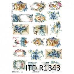 Papier ryżowy do decoupage ITD R1343 - Niezapominajki