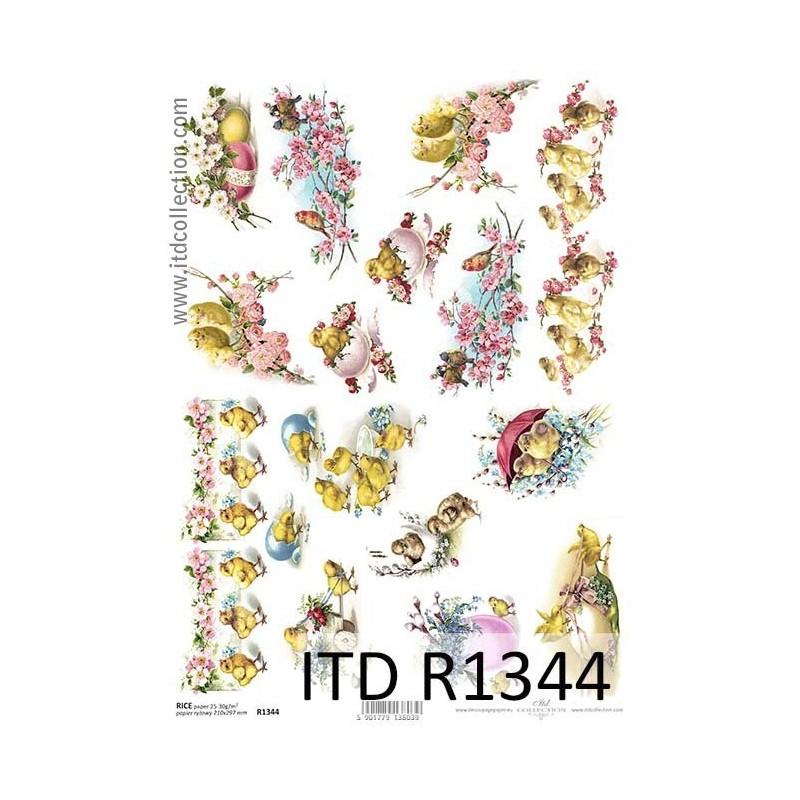 Papier ryżowy do decoupage ITD R1344 - Wiosenne kurczaki - Wielkanoc