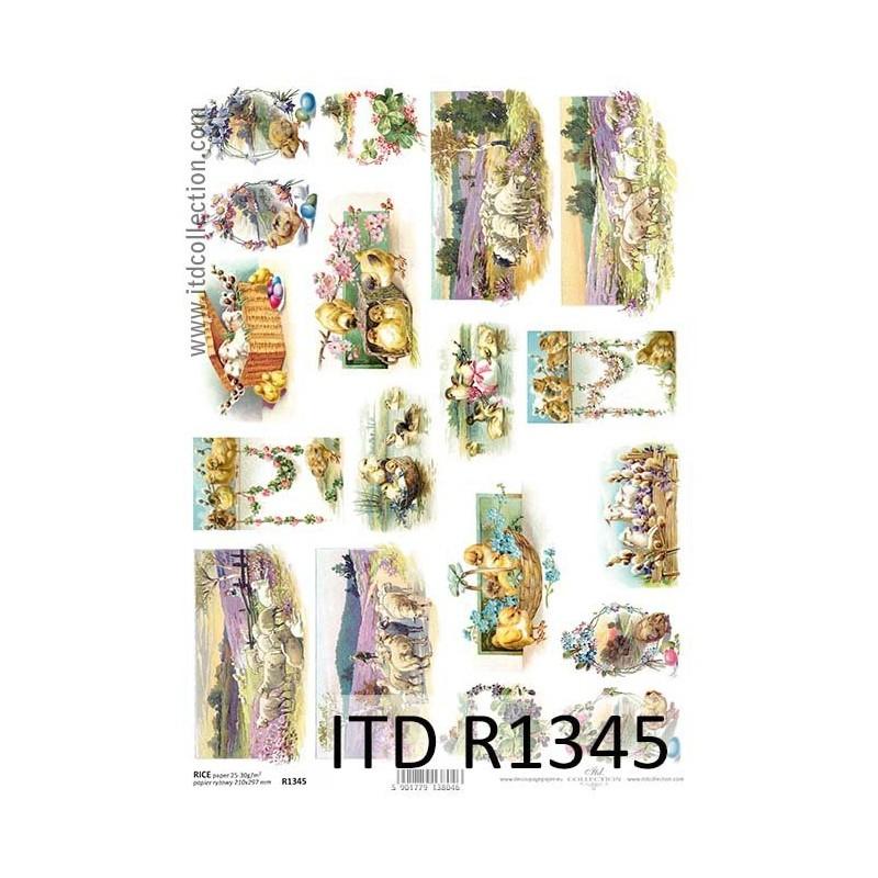 Papier ryżowy do decoupage, kurczaczki, owca, kaczki  - ITD R1345