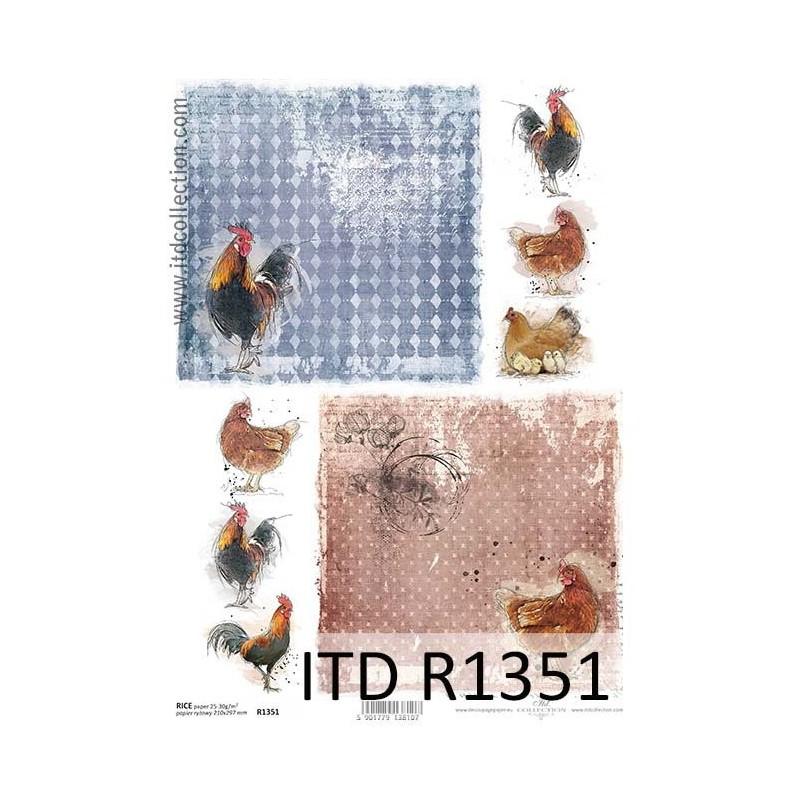 Papier ryżowy do decoupage ITD R1351 - Koguty i kury - Wielkanoc