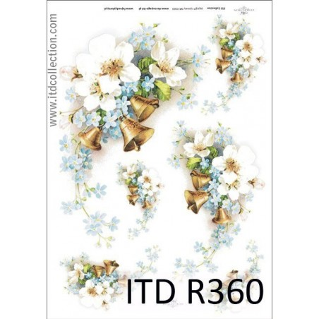 Papier ryżowe do decoupage ITD R360, Wiosenne kwiaty