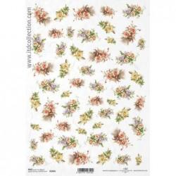 Papier ryżowy do decoupage, Drobne bukiety róż i lilaków  - ITD R1455