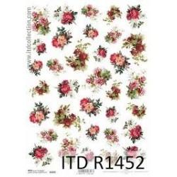 Papier ryżowy do decoupage ITD R1452, Bukiety czerwonych róż