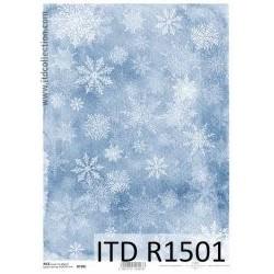 Papier ryżowy do decoupage A4 ITD R1501 Śnieżynki