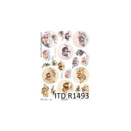 Papier ryżowy A4 ITD R1493 Aniołki - motywy okrągłe