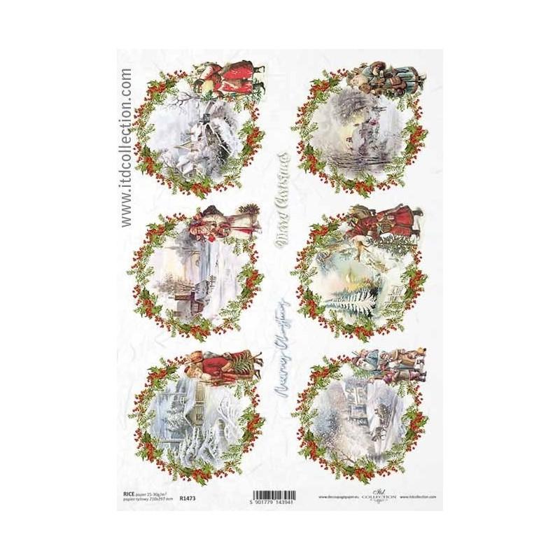 Papier ryżowy do decoupage A4 ITD R1473 Mikołaje i zimowe widoki