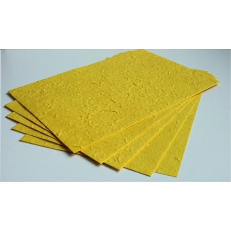 Papier czerpany morwowy A4, żółty 30 gsm, 5 ark. [PM_106]