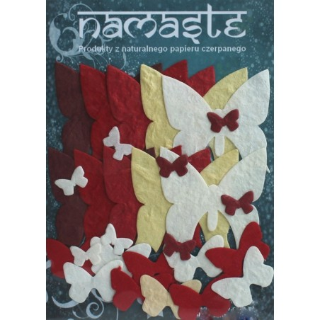 Kształty z papieru czerpanego, Motyle czerwono-białe [GW_123]