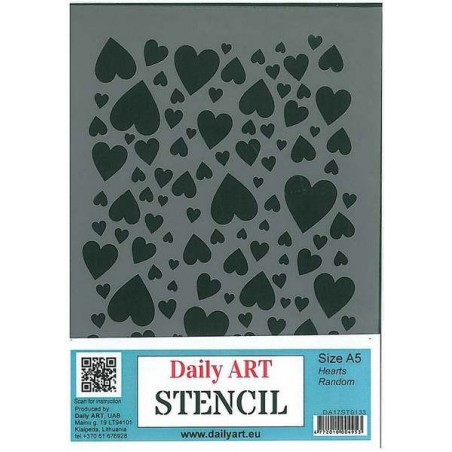 Szablon Daily ART Hearts Random - serca - do decoupage i scrapbookingu