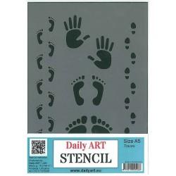 Szablon Daily ART odciski stóp i dłoni - do decoupage i scrapbookingu