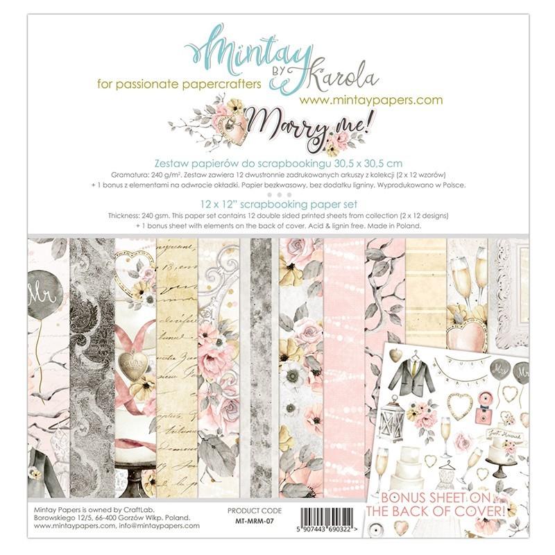 Zestaw papierów do scrapbookingu Marry Me - Mintay Papers