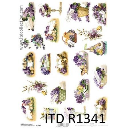 Papier ryżowy A4 ITD R1341, Kury i fioletowe kwiaty