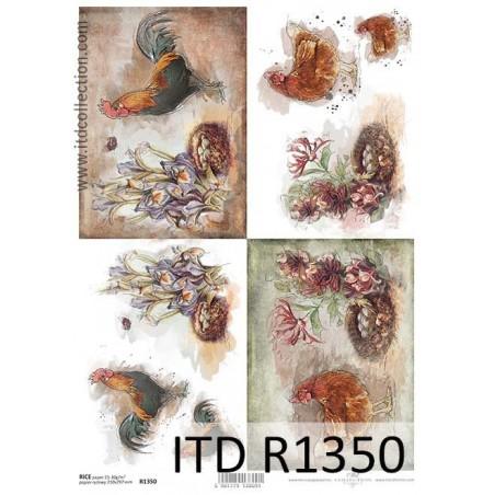 Papier ryżowy A4 ITD R1350, Koguty i kury