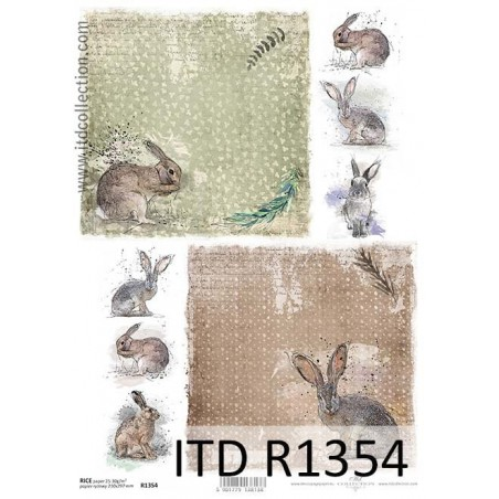 Papier ryżowy A4 ITD R1354, Zające