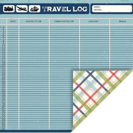 Papier do scrapbookingu, Travel - Travelog-Plaid [Q&Co 1445]