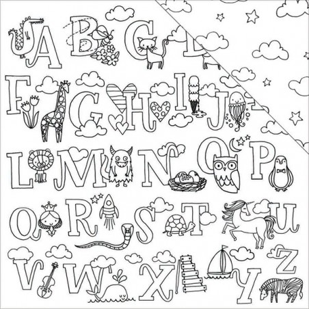 Papier do scrapbookingu 12x12, Hall Pass Adult Coloring, Cute Alphabet [Am. Crafts]
