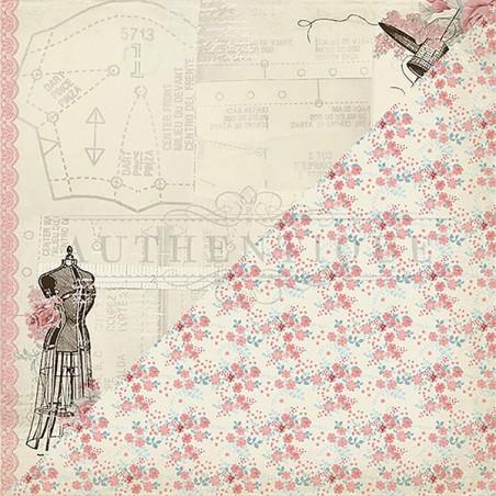 Papier do scrapbookingu 12x12 Authentique Paper, Stitches 1