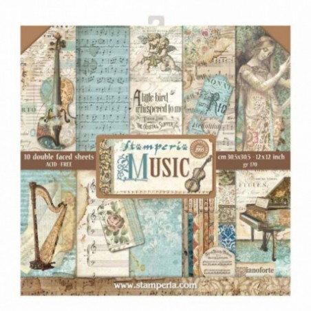 Bloczek do scrapbookingu 30x30 cm Music Stamperia SBBL48