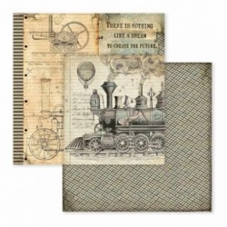 Papier do scrapbookingu Stamperia 30x30 cm, Voyages Fantastiques - lokomotywa