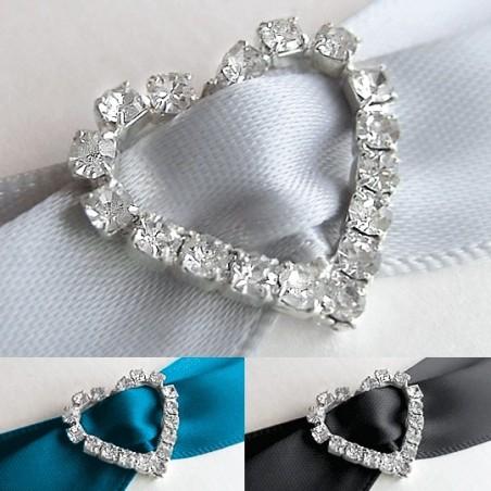 Klamra ozdobna na wstążkę, serce z kryształkami, 1 szt.