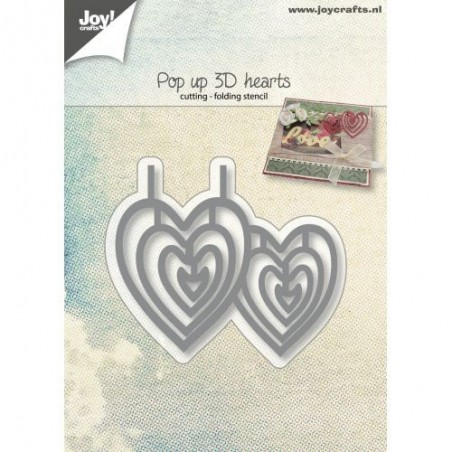 Wykrojnik Joy Cutting Folding Stencil, Pop up 3D hearts [6003/2020]