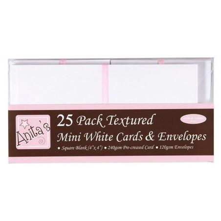 Zestaw kart i kopert mini, kwadratowe, białe 10.16x10.16 cm, 25 szt. [1515000]