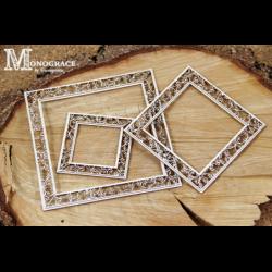 Zestaw elementów tekturowych, Monograce - dwuwarstwowe ramki kwadratowe 3 szt. 4313 [Scrapiniec]