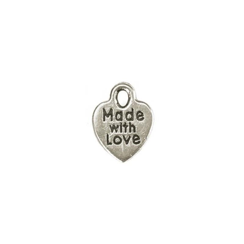 Zawieszki metalowe, srebrne serce z napisem Made with love, 5 szt.