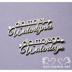 """Zestaw elementów tekturowych, napisy """"dla mojej Walentynki"""" """"dla mojego Walentego"""" [Wycinanka]"""