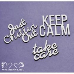 Zestaw elementów tekturowych, Napisy Keep calm [Wycinanka]