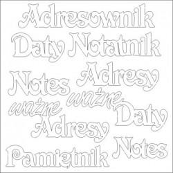 """Elementy tekturowe, Notesy, adresy - zestaw słówek """"ozdobny"""" [Scrapiniec 870]"""