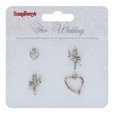 Metalowe zawieszki ScrapBerry's, For Wedding 4 szt. [SCB250001056]