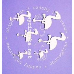 Zestaw elementów tekturowych, Flamingi [Wycinanka]