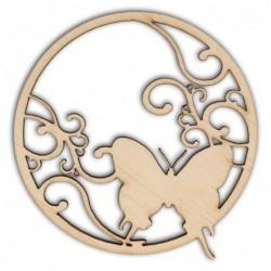 Ozdoba ze sklejki, Motyl w okrągłej ramce AD786