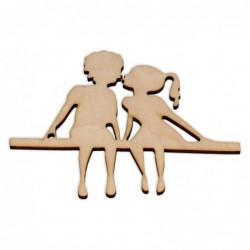 Ozdoba ze sklejki, Dzieci na ławce AD1144