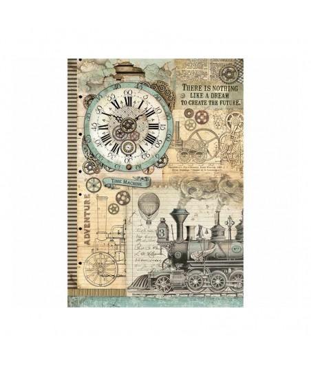 Papier ryżowy Stamperia A3, Voyages - lokomotywa