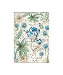 Papier ryżowy Stamperia A4. Niebieskie tulipany
