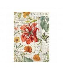 Papier ryżowy Stamperia A4. Jardins - ogrodowe kwiaty