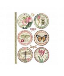 Papier ryżowy Stamperia A4. Botanic - okrągłe etykiety