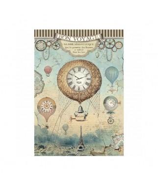 Papier ryżowy Stamperia A4. Voyages - balony nad Paryżem