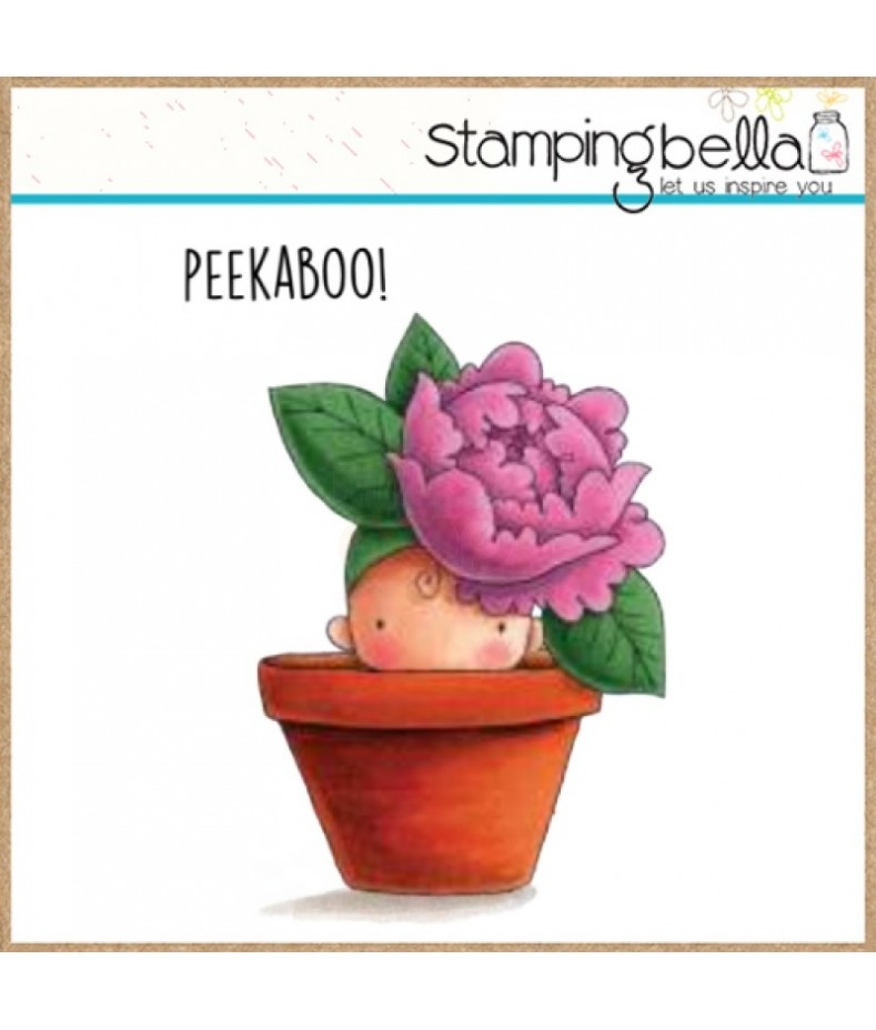 Stemple gumowe Stamping Bella, Peony baby in a pot - piwonia
