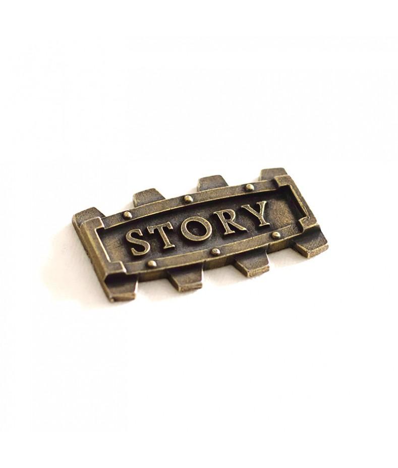 Element metalowy - napis Story w ramce