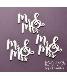 Tekturki do scrapbookingu, Napis Mr&Mrs - Wycinanka