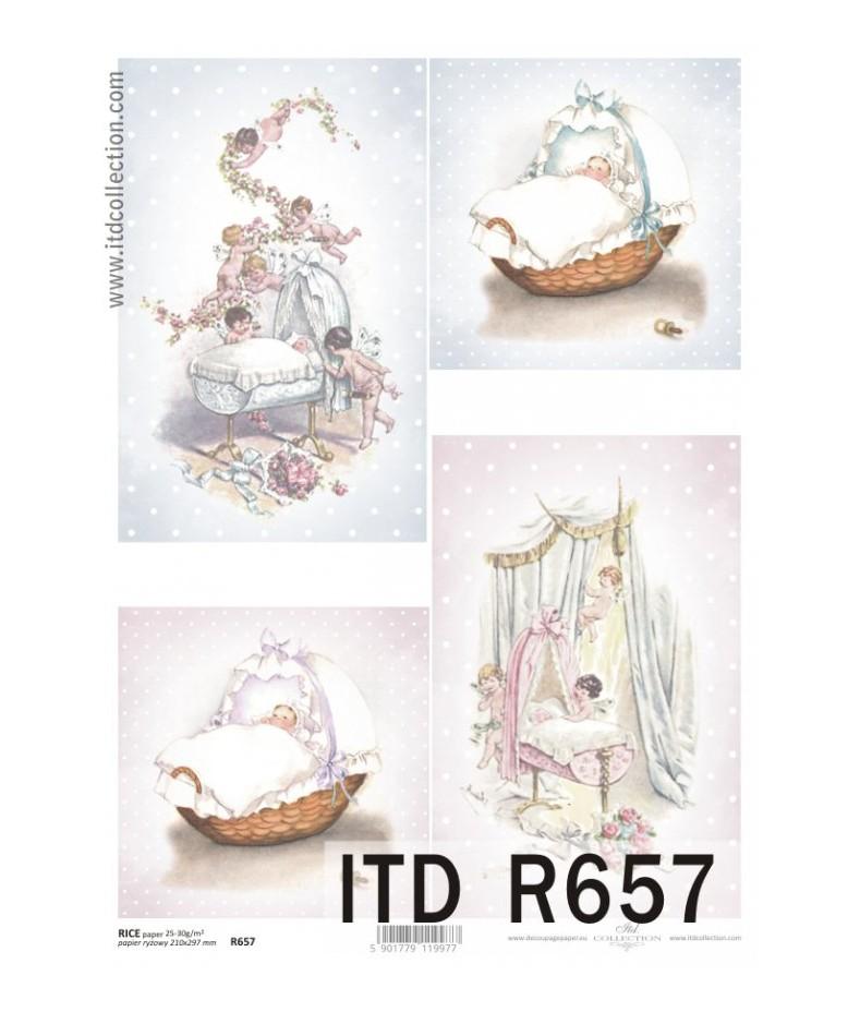 Papier ryżowy do decoupage ITD R657 - Chrzest, chrzciny