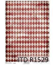 Papier ryżowy do decoupage ITD R1528 - Czerwono-szare romby