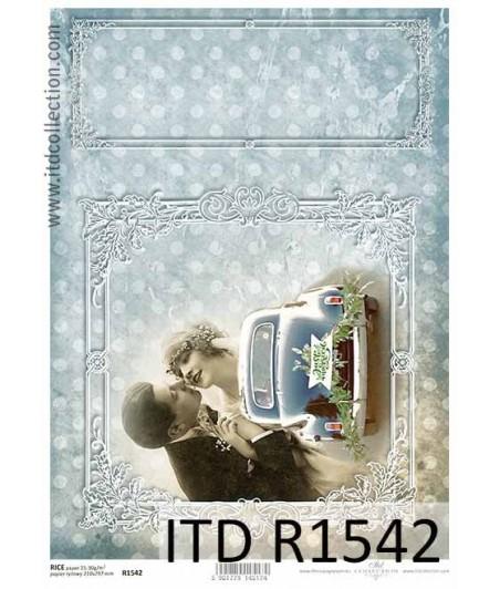 Papier ryżowy do decoupage ITD R1542 - Samochodem retro na ślub