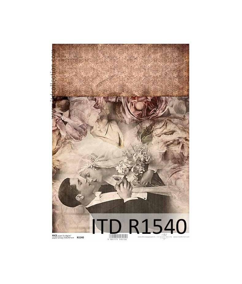 Papier ryżowy do decoupage ITD R1540 - Młoda Para retro