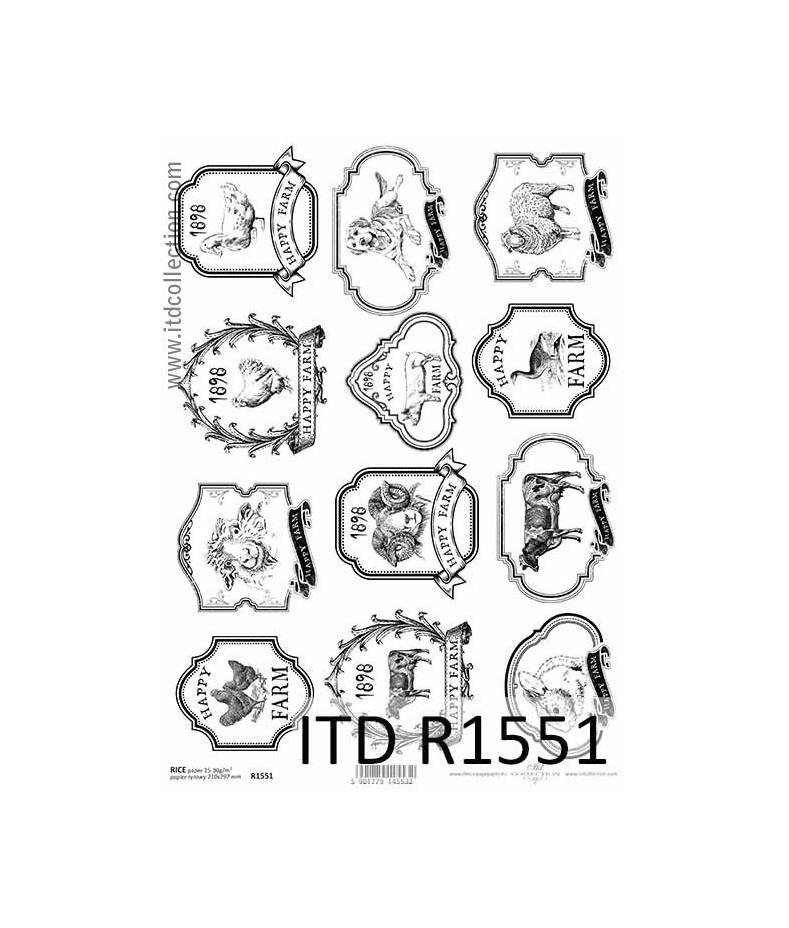 Papier ryżowe do decoupage ITD R1551, Szczęśliwa farma